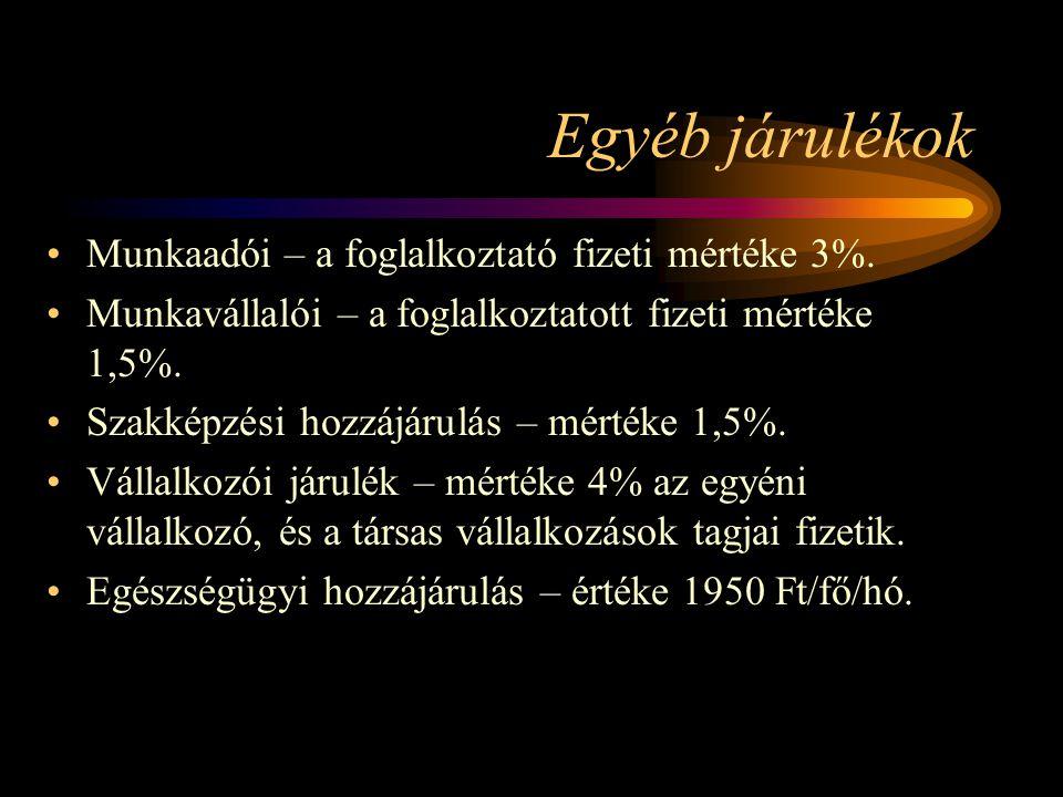 Egyéb járulékok Munkaadói – a foglalkoztató fizeti mértéke 3%. Munkavállalói – a foglalkoztatott fizeti mértéke 1,5%. Szakképzési hozzájárulás – mérté
