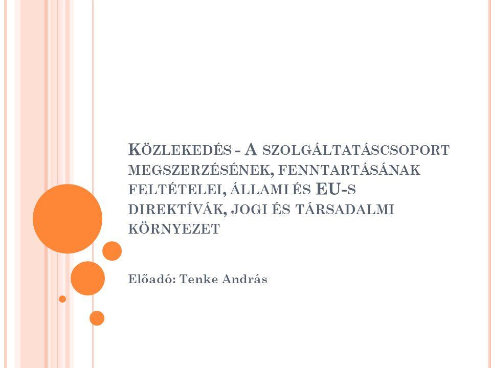 K ÖZLEKEDÉS - A SZOLGÁLTATÁSCSOPORT MEGSZERZÉSÉNEK, FENNTARTÁSÁNAK FELTÉTELEI, ÁLLAMI ÉS EU- S DIREKTÍVÁK, JOGI ÉS TÁRSADALMI KÖRNYEZET Előadó: Tenke András