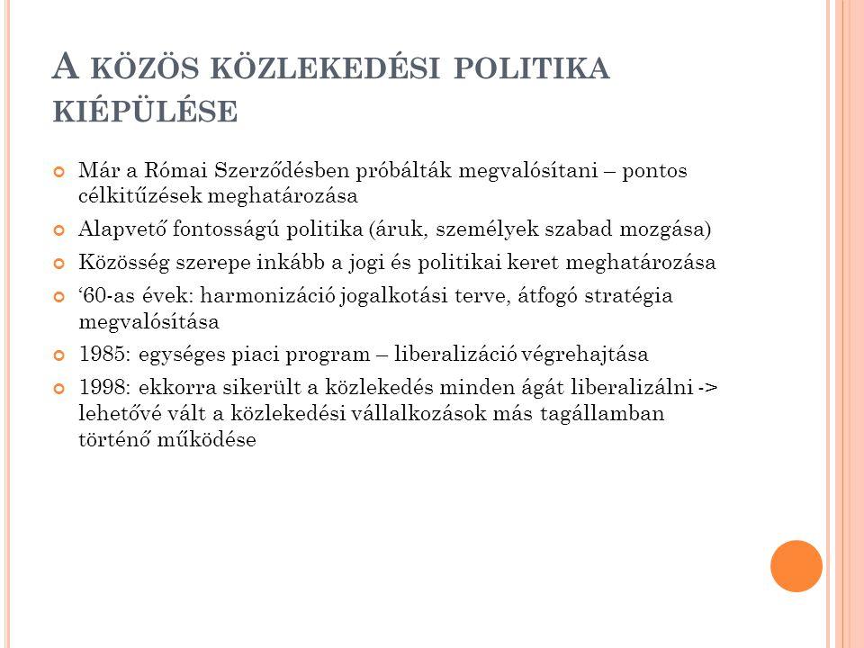 A KÖZÖS KÖZLEKEDÉSI POLITIKA KIÉPÜLÉSE Már a Római Szerződésben próbálták megvalósítani – pontos célkitűzések meghatározása Alapvető fontosságú politika (áruk, személyek szabad mozgása) Közösség szerepe inkább a jogi és politikai keret meghatározása '60-as évek: harmonizáció jogalkotási terve, átfogó stratégia megvalósítása 1985: egységes piaci program – liberalizáció végrehajtása 1998: ekkorra sikerült a közlekedés minden ágát liberalizálni -> lehetővé vált a közlekedési vállalkozások más tagállamban történő működése