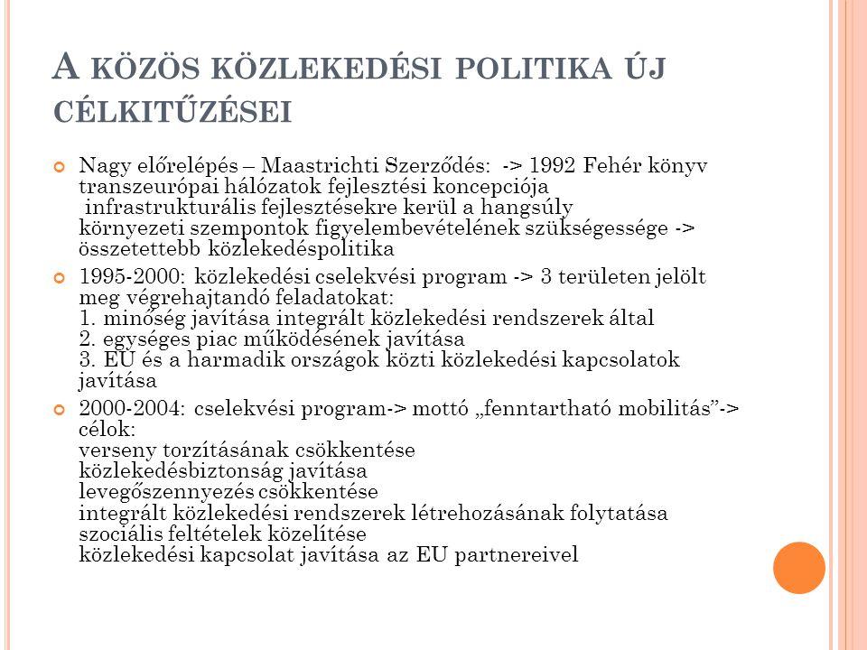 A KÖZÖS KÖZLEKEDÉSI POLITIKA ÚJ CÉLKITŰZÉSEI Nagy előrelépés – Maastrichti Szerződés: -> 1992 Fehér könyv transzeurópai hálózatok fejlesztési koncepciója infrastrukturális fejlesztésekre kerül a hangsúly környezeti szempontok figyelembevételének szükségessége -> összetettebb közlekedéspolitika 1995-2000: közlekedési cselekvési program -> 3 területen jelölt meg végrehajtandó feladatokat: 1.