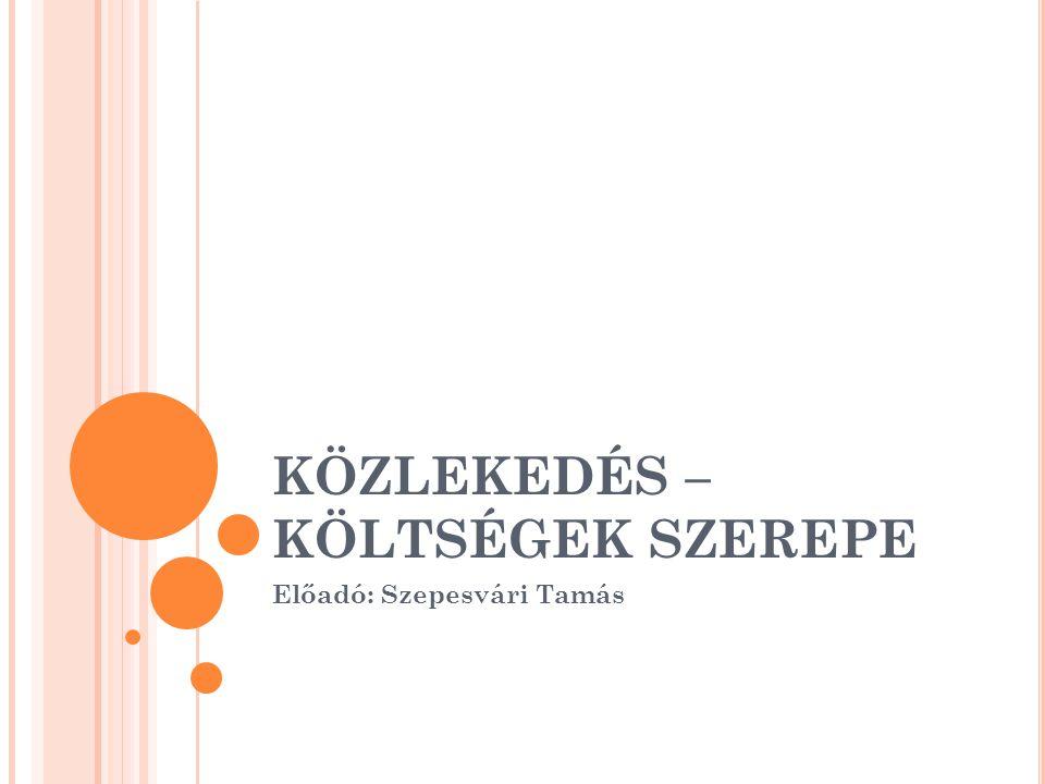 KÖZLEKEDÉS – KÖLTSÉGEK SZEREPE Előadó: Szepesvári Tamás