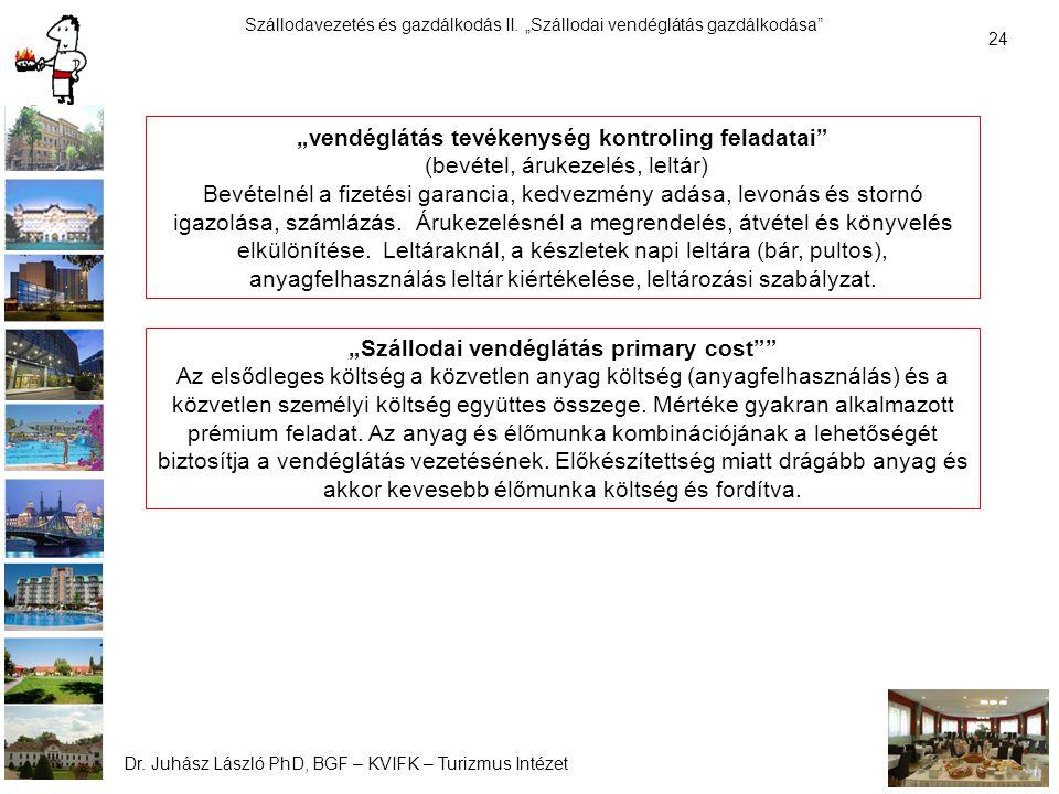 """Szállodavezetés és gazdálkodás II.""""Szállodai vendéglátás gazdálkodása Dr."""