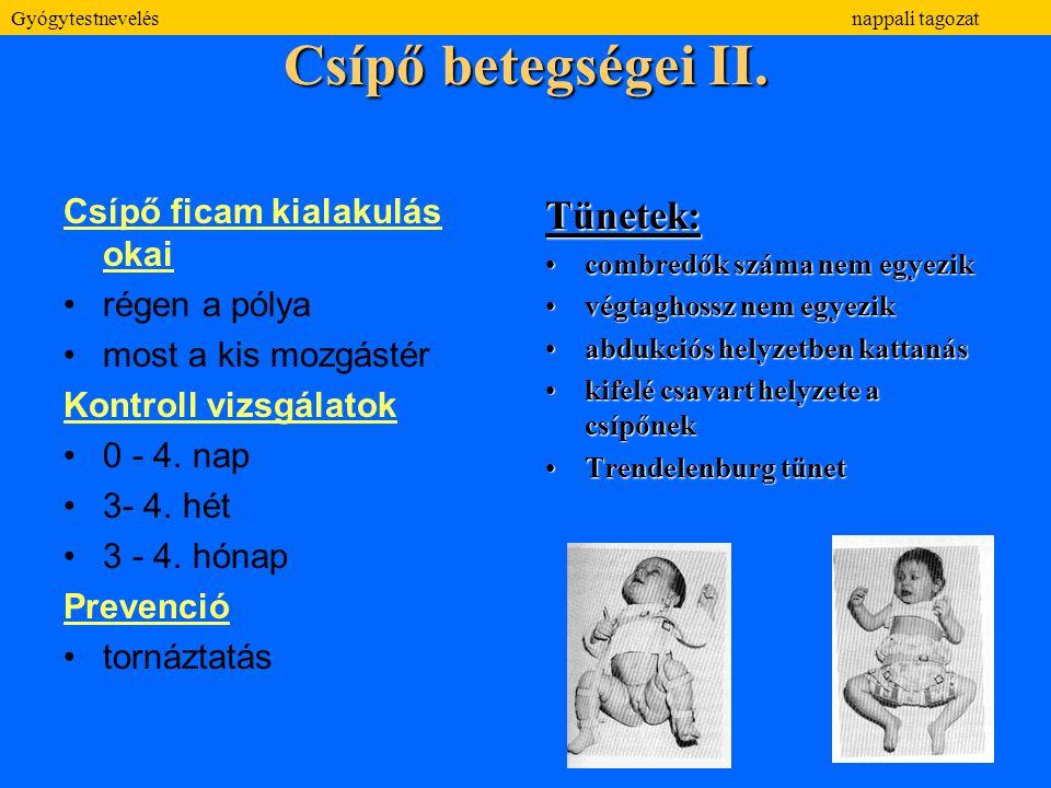 Csípő betegségei II. Csípő ficam kialakulás okai régen a pólya most a kis mozgástér Kontroll vizsgálatok 0 - 4. nap 3- 4. hét 3 - 4. hónap Prevenció t