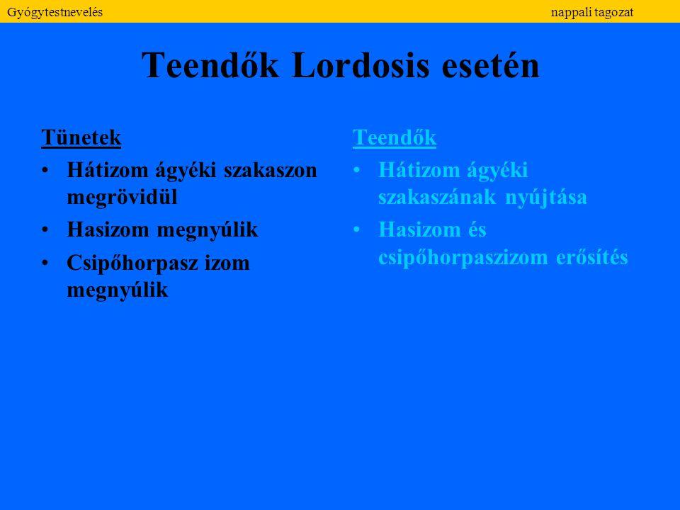 Teendők Lordosis esetén Tünetek Hátizom ágyéki szakaszon megrövidül Hasizom megnyúlik Csipőhorpasz izom megnyúlik Teendők Hátizom ágyéki szakaszának n