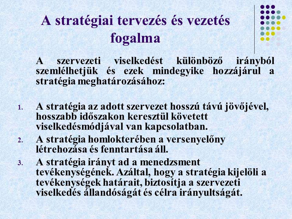 A stratégiai tervezés és vezetés fogalma A szervezeti viselkedést különböző irányból szemlélhetjük és ezek mindegyike hozzájárul a stratégia meghatáro