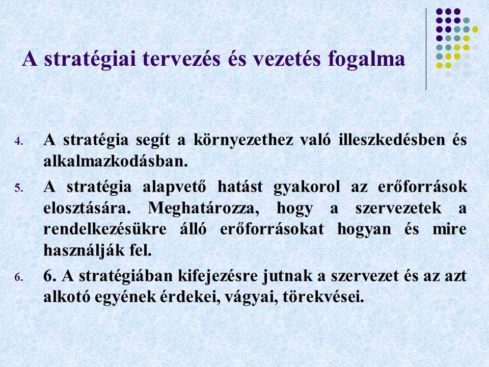 A stratégiai tervezés és vezetés fogalma 4. A stratégia segít a környezethez való illeszkedésben és alkalmazkodásban. 5. A stratégia alapvető hatást g