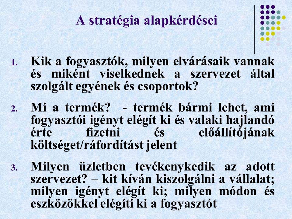 A stratégia alapkérdései 1. Kik a fogyasztók, milyen elvárásaik vannak és miként viselkednek a szervezet által szolgált egyének és csoportok? 2. Mi a
