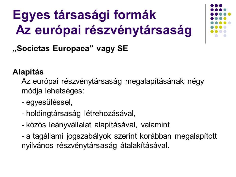 """""""Societas Europaea vagy SE Alapítás Az európai részvénytársaság megalapításának négy módja lehetséges: - egyesüléssel, - holdingtársaság létrehozásával, - közös leányvállalat alapításával, valamint - a tagállami jogszabályok szerint korábban megalapított nyilvános részvénytársaság átalakításával."""