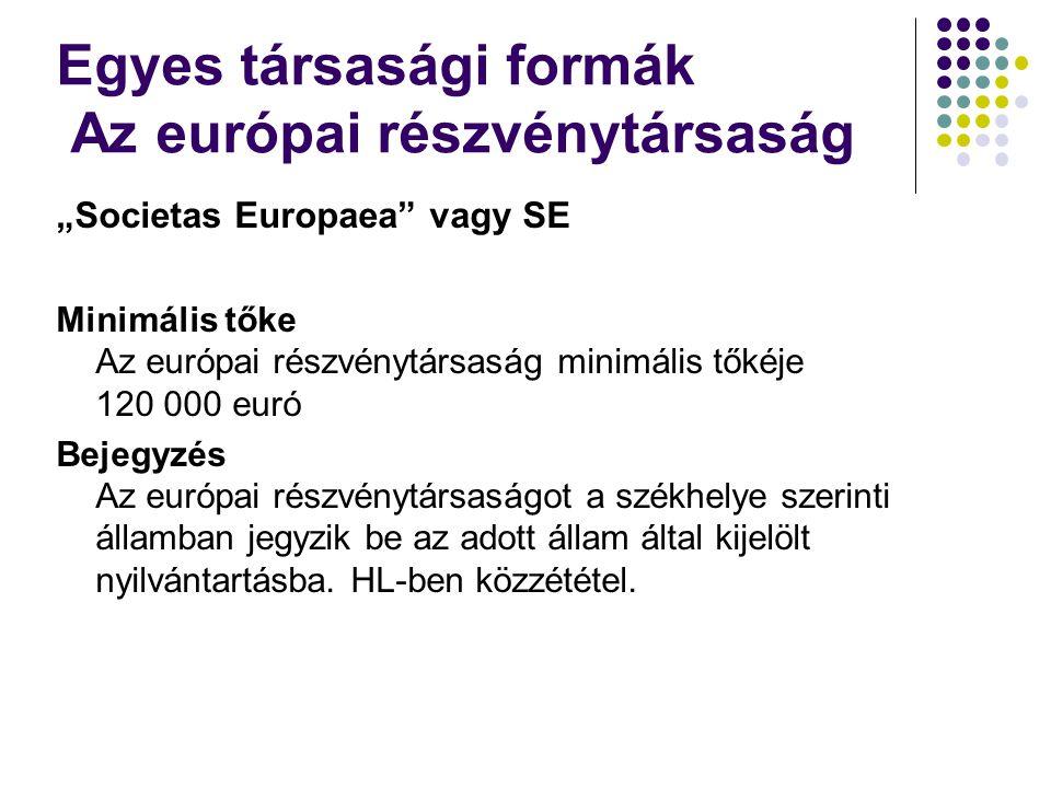 """""""Societas Europaea vagy SE Minimális tőke Az európai részvénytársaság minimális tőkéje 120 000 euró Bejegyzés Az európai részvénytársaságot a székhelye szerinti államban jegyzik be az adott állam által kijelölt nyilvántartásba."""