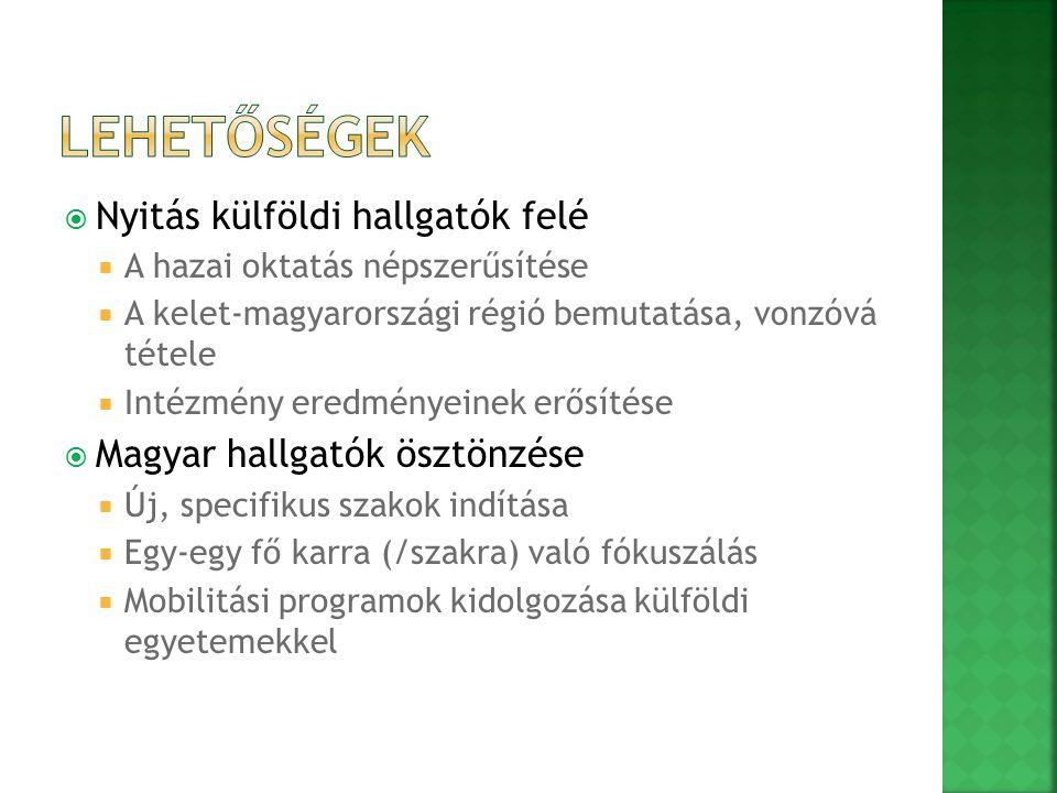  Nyitás külföldi hallgatók felé  A hazai oktatás népszerűsítése  A kelet-magyarországi régió bemutatása, vonzóvá tétele  Intézmény eredményeinek erősítése  Magyar hallgatók ösztönzése  Új, specifikus szakok indítása  Egy-egy fő karra (/szakra) való fókuszálás  Mobilitási programok kidolgozása külföldi egyetemekkel