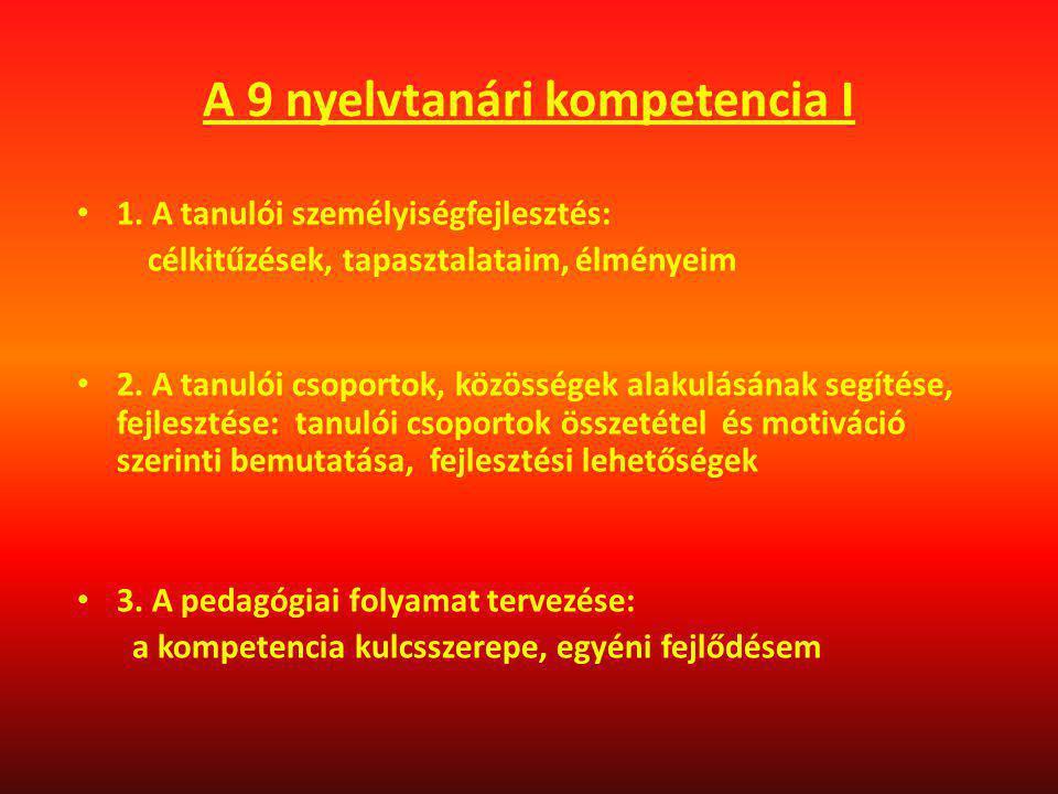 A 9 nyelvtanári kompetencia I 1. A tanulói személyiségfejlesztés: célkitűzések, tapasztalataim, élményeim 2. A tanulói csoportok, közösségek alakulásá