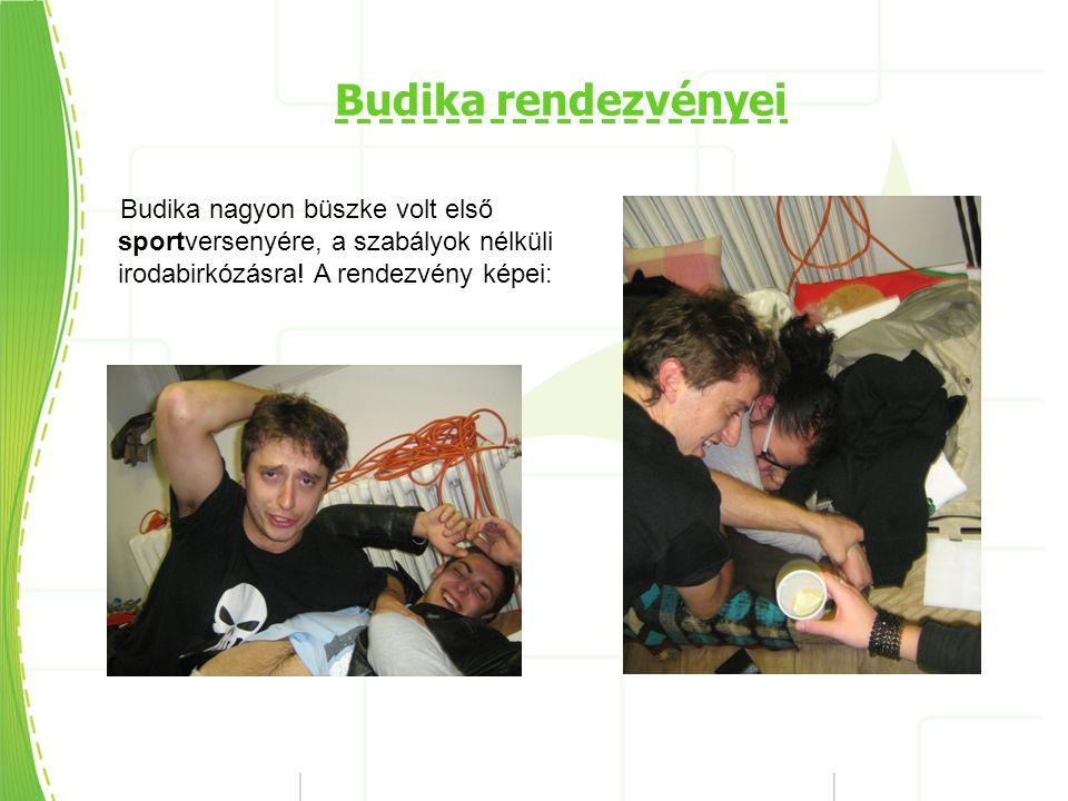 Budika rendezvényei Budika nagyon büszke volt első sportversenyére, a szabályok nélküli irodabirkózásra.