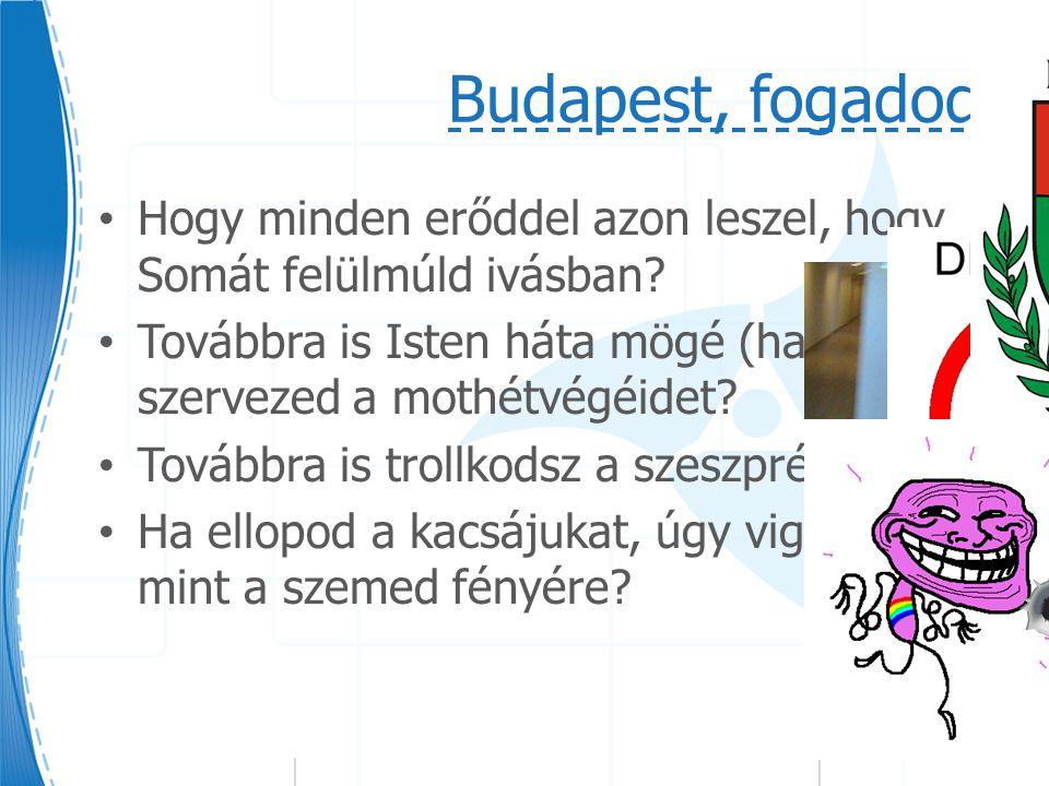 Budapest, fogadod: Hogy minden erőddel azon leszel, hogy Somát felülmúld ivásban.