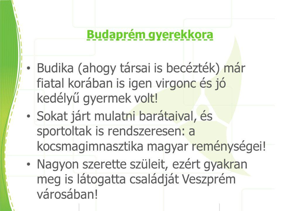 Budaprém gyerekkora Budika (ahogy társai is becézték) már fiatal korában is igen virgonc és jó kedélyű gyermek volt.