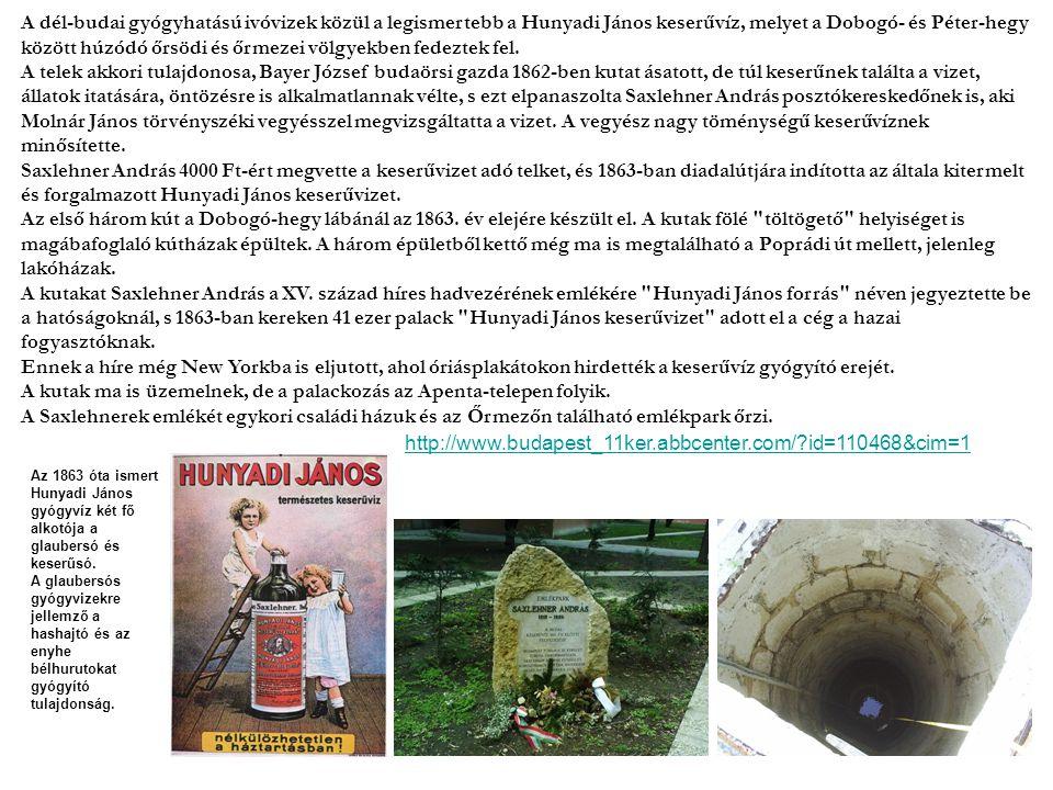 A dél-budai gyógyhatású ivóvizek közül a legismertebb a Hunyadi János keserűvíz, melyet a Dobogó- és Péter-hegy között húzódó őrsödi és őrmezei völgyekben fedeztek fel.