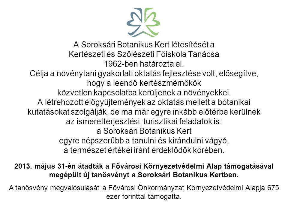 A Soroksári Botanikus Kert létesítését a Kertészeti és Szőlészeti Főiskola Tanácsa 1962-ben határozta el.