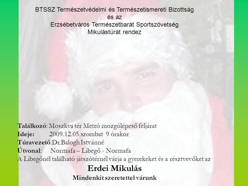 A Budapesti Természetbarát Sportszövetség szakosztályai, egyesületei, bizottságai, idén is Mikulástúrán találkoznak a Mikulással a Budai hegyekben. B