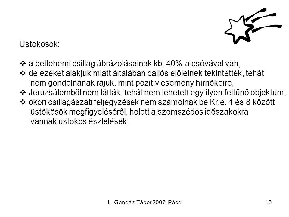 III.Genezis Tábor 2007. Pécel13 Üstökösök:  a betlehemi csillag ábrázolásainak kb.