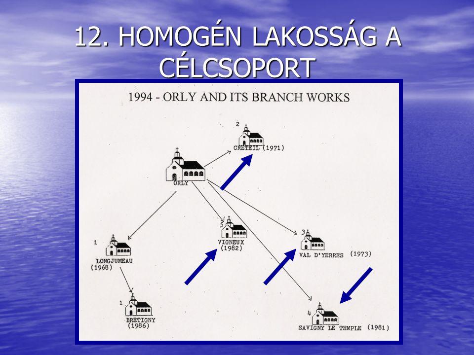 12. HOMOGÉN LAKOSSÁG A CÉLCSOPORT