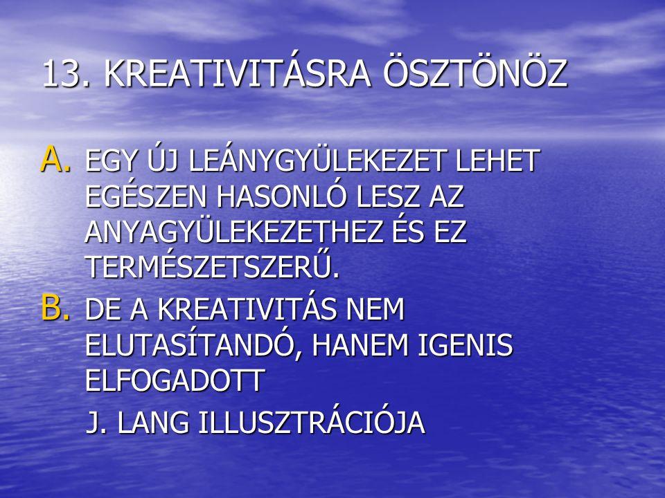 13. KREATIVITÁSRA ÖSZTÖNÖZ A.