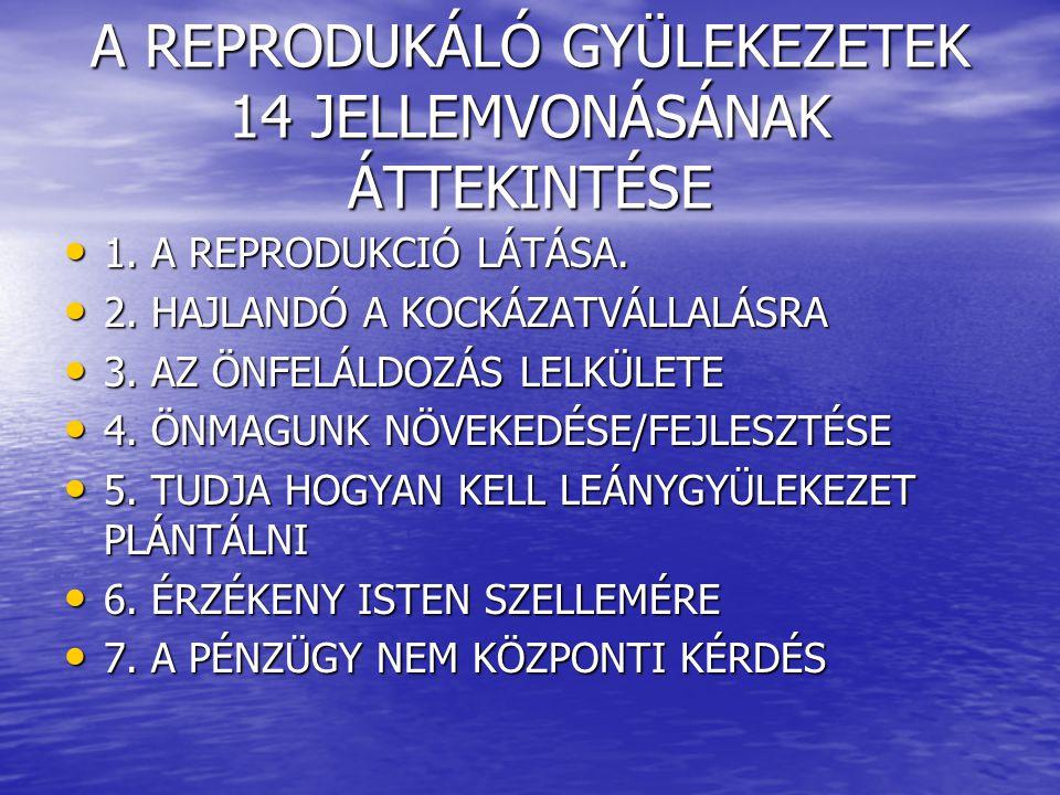 A REPRODUKÁLÓ GYÜLEKEZETEK 14 JELLEMVONÁSÁNAK ÁTTEKINTÉSE 1. A REPRODUKCIÓ LÁTÁSA. 1. A REPRODUKCIÓ LÁTÁSA. 2. HAJLANDÓ A KOCKÁZATVÁLLALÁSRA 2. HAJLAN