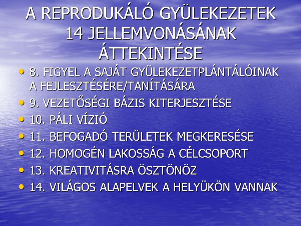 A REPRODUKÁLÓ GYÜLEKEZETEK 14 JELLEMVONÁSÁNAK ÁTTEKINTÉSE 8.