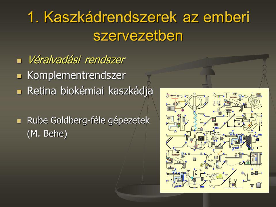 1. Kaszkádrendszerek az emberi szervezetben Véralvadási rendszer Véralvadási rendszer Komplementrendszer Komplementrendszer Retina biokémiai kaszkádja