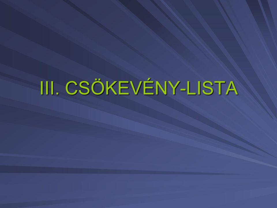 III. CSÖKEVÉNY-LISTA