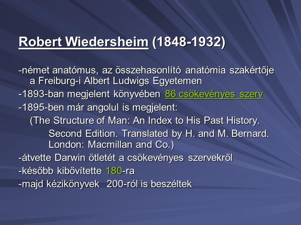 Robert Wiedersheim (1848-1932) -német anatómus, az összehasonlító anatómia szakértője a Freiburg-i Albert Ludwigs Egyetemen -1893-ban megjelent könyvé