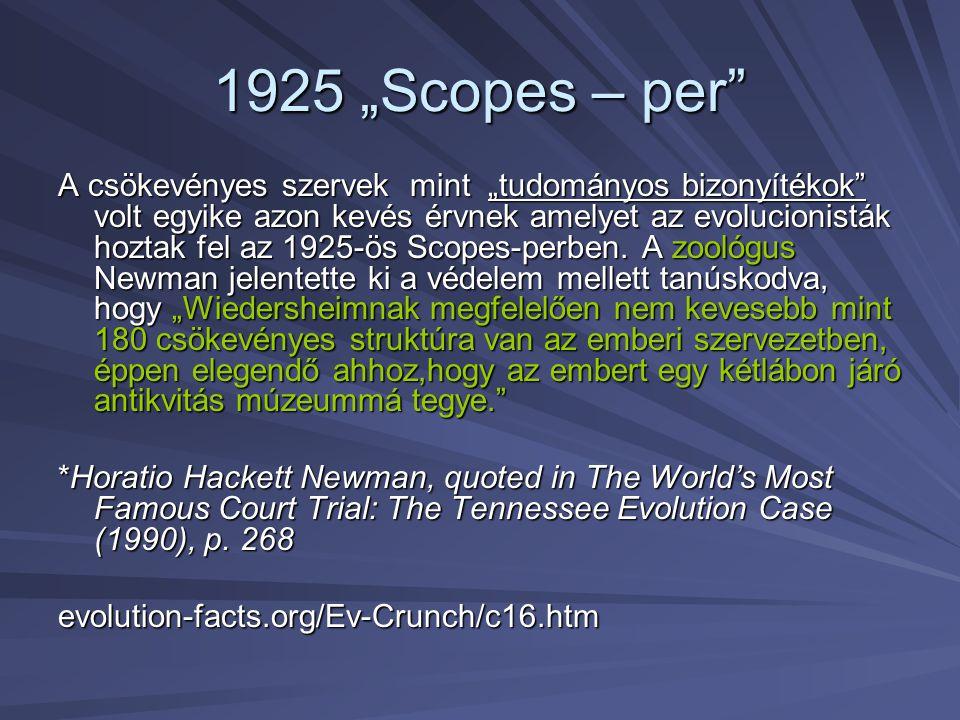 """1925 """"Scopes – per"""" A csökevényes szervek mint """"tudományos bizonyítékok"""" volt egyike azon kevés érvnek amelyet az evolucionisták hoztak fel az 1925-ös"""