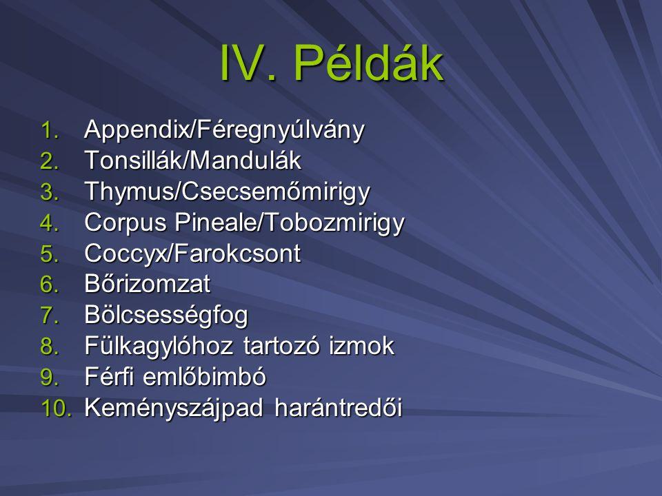 IV. Példák 1. Appendix/Féregnyúlvány 2. Tonsillák/Mandulák 3. Thymus/Csecsemőmirigy 4. Corpus Pineale/Tobozmirigy 5. Coccyx/Farokcsont 6. Bőrizomzat 7