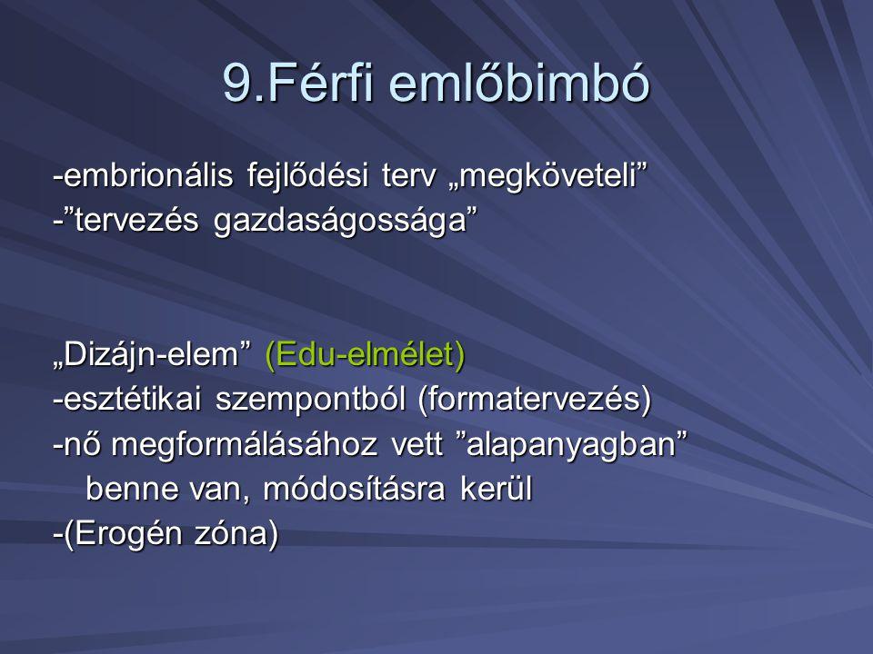 """9.Férfi emlőbimbó -embrionális fejlődési terv """"megköveteli"""" -""""tervezés gazdaságossága"""" """"Dizájn-elem"""" (Edu-elmélet) -esztétikai szempontból (formaterve"""