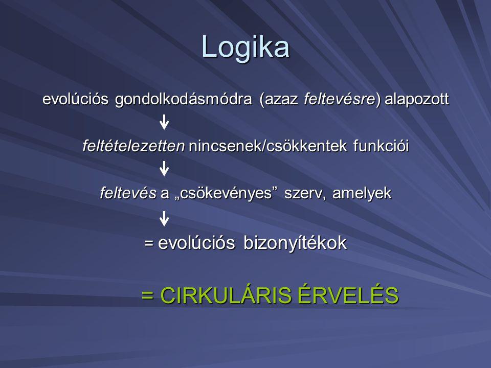 """Logika evolúciós gondolkodásmódra (azaz feltevésre) alapozott feltételezetten nincsenek/csökkentek funkciói feltevés a """"csökevényes"""" szerv, amelyek ="""