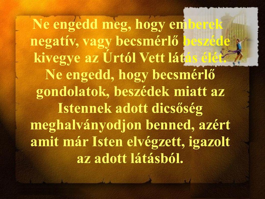 Ne engedd meg, hogy emberek negatív, vagy becsmérlő beszéde kivegye az Úrtól Vett látás élét. Ne engedd, hogy becsmérlő gondolatok, beszédek miatt az