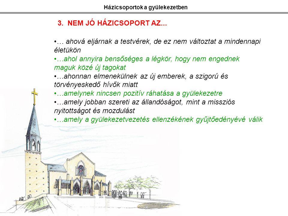 Házicsoportok a gyülekezetben 3. NEM JÓ HÁZICSOPORT AZ...