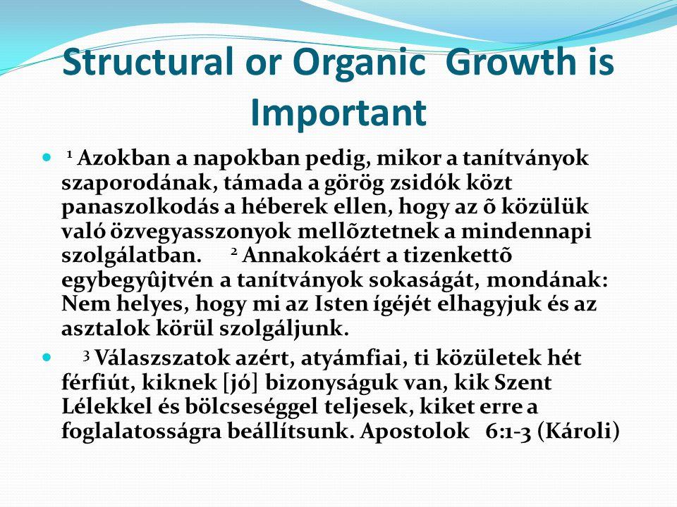 Structural or Organic Growth is Important 1 Azokban a napokban pedig, mikor a tanítványok szaporodának, támada a görög zsidók közt panaszolkodás a héberek ellen, hogy az õ közülük való özvegyasszonyok mellõztetnek a mindennapi szolgálatban.