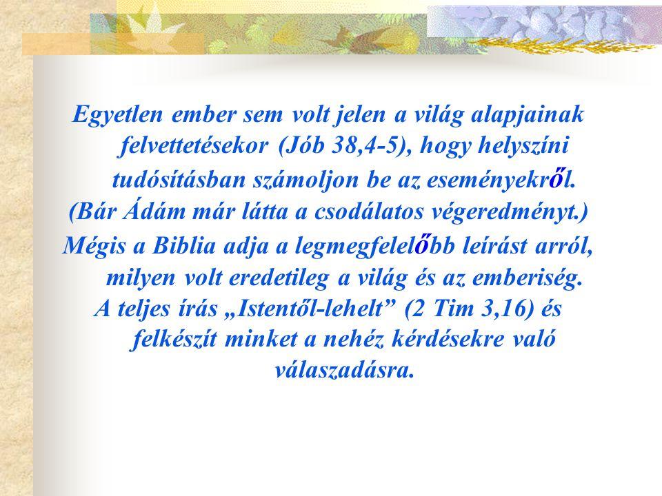 Egyetlen ember sem volt jelen a világ alapjainak felvettetésekor (Jób 38,4-5), hogy helyszíni tudósításban számoljon be az eseményekr ő l. (Bár Ádám m