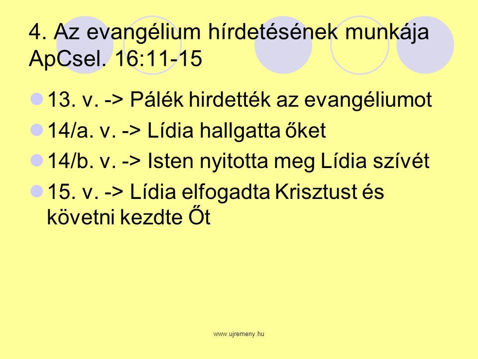 www.ujremeny.hu 4. Az evangélium hírdetésének munkája ApCsel.