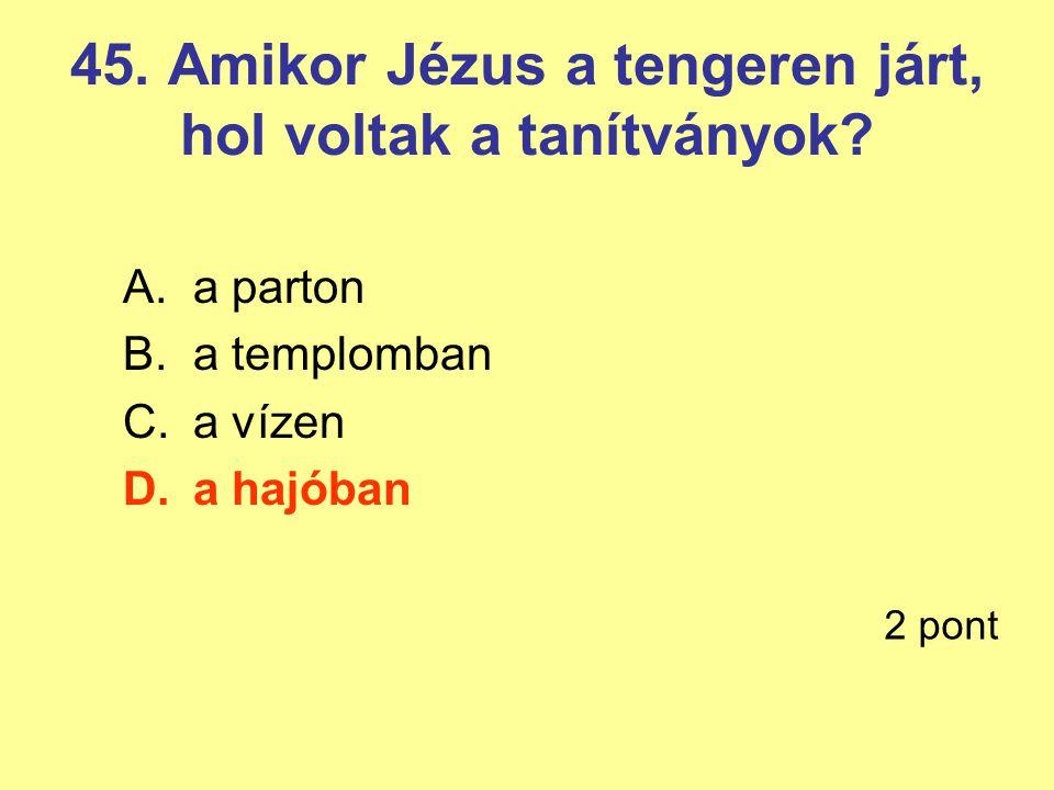 45. Amikor Jézus a tengeren járt, hol voltak a tanítványok? A.a parton B.a templomban C.a vízen D.a hajóban 2 pont