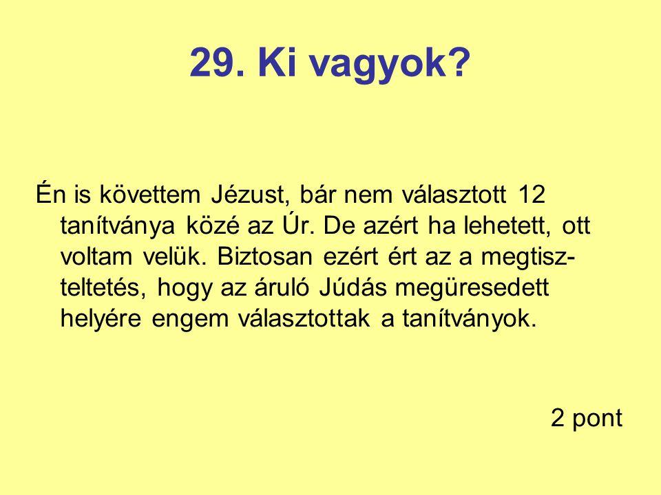 29. Ki vagyok? Én is követtem Jézust, bár nem választott 12 tanítványa közé az Úr. De azért ha lehetett, ott voltam velük. Biztosan ezért ért az a meg