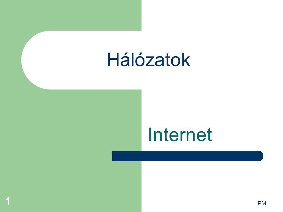 PM 2 A hálózatok előnyei erőforrás-megosztás nagy megbízhatóság költségmegtakarítás kommunikáció párhuzamos adathozzáférés
