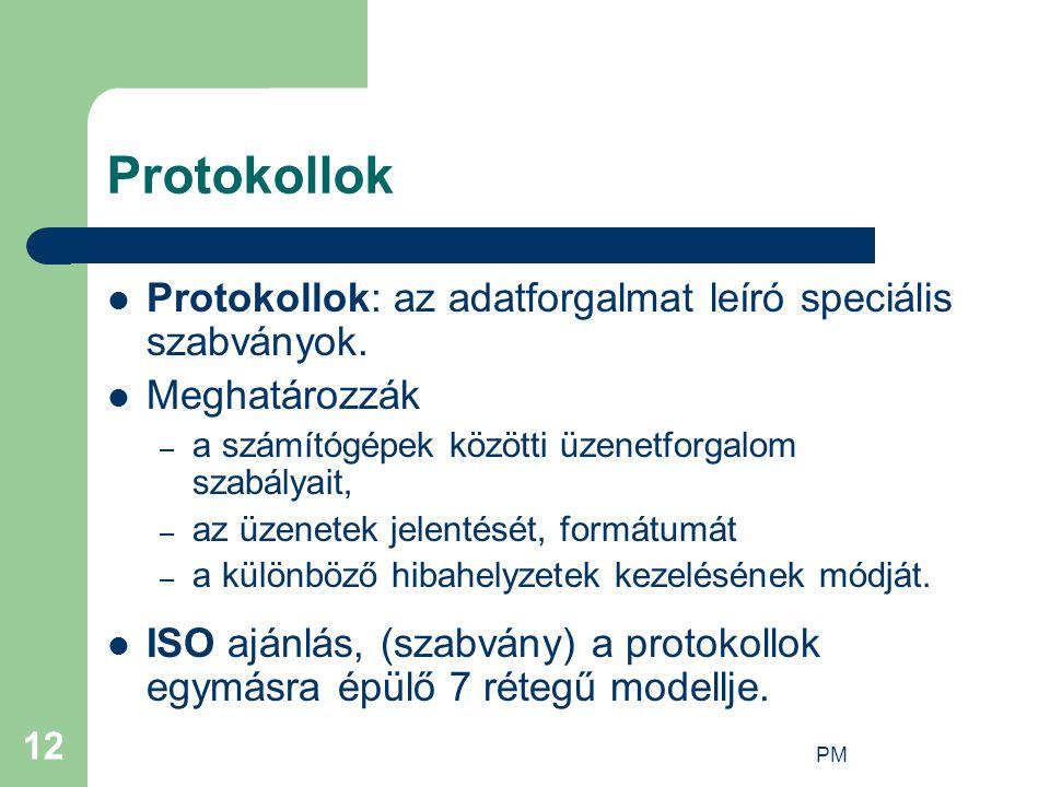 PM 12 Protokollok Protokollok: az adatforgalmat leíró speciális szabványok. Meghatározzák – a számítógépek közötti üzenetforgalom szabályait, – az üze
