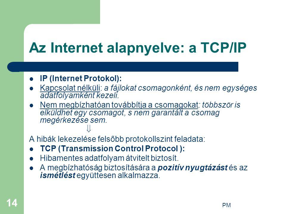 PM 14 Az Internet alapnyelve: a TCP/IP IP (Internet Protokol): Kapcsolat nélküli: a fájlokat csomagonként, és nem egységes adatfolyamként kezeli. Nem