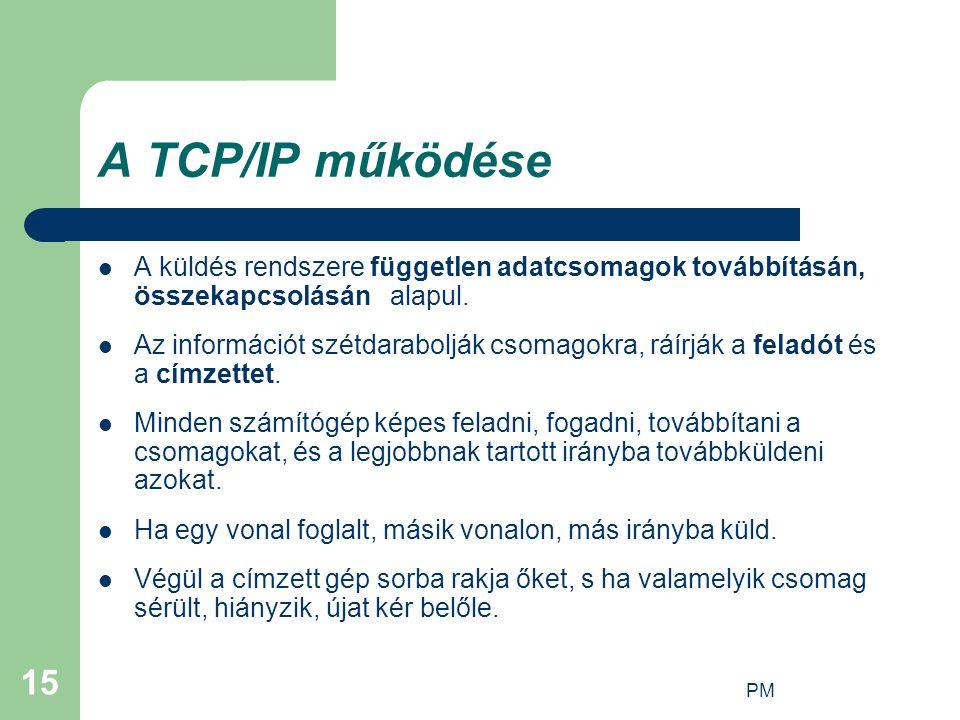 PM 15 A TCP/IP működése A küldés rendszere független adatcsomagok továbbításán, összekapcsolásán alapul. Az információt szétdarabolják csomagokra, ráí