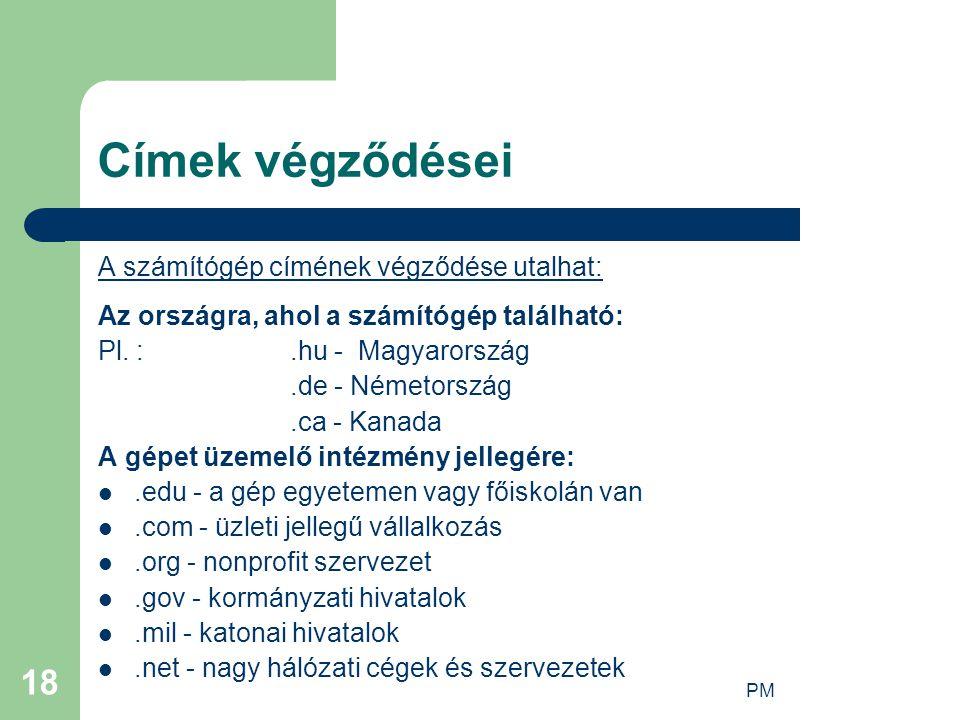 PM 18 Címek végződései A számítógép címének végződése utalhat: Az országra, ahol a számítógép található: Pl. :.hu - Magyarország.de - Németország.ca -