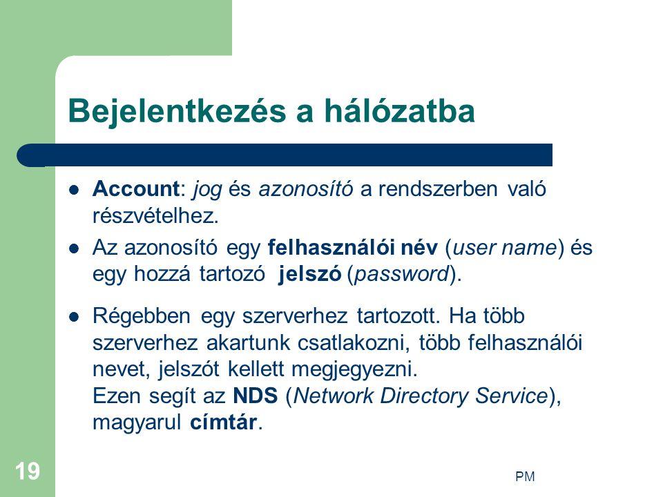 PM 19 Bejelentkezés a hálózatba Account: jog és azonosító a rendszerben való részvételhez. Az azonosító egy felhasználói név (user name) és egy hozzá