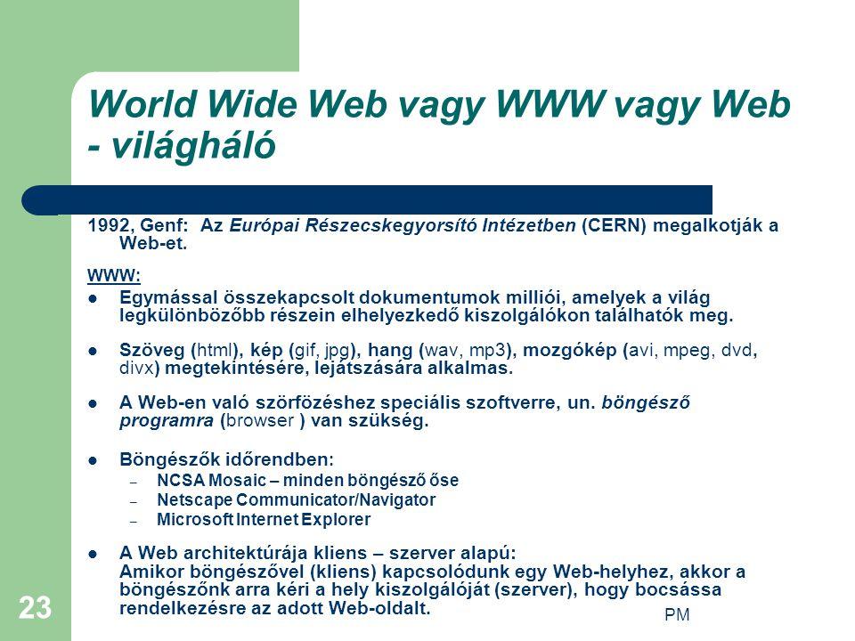 PM 23 World Wide Web vagy WWW vagy Web - világháló 1992, Genf: Az Európai Részecskegyorsító Intézetben (CERN) megalkotják a Web-et. WWW: Egymással öss