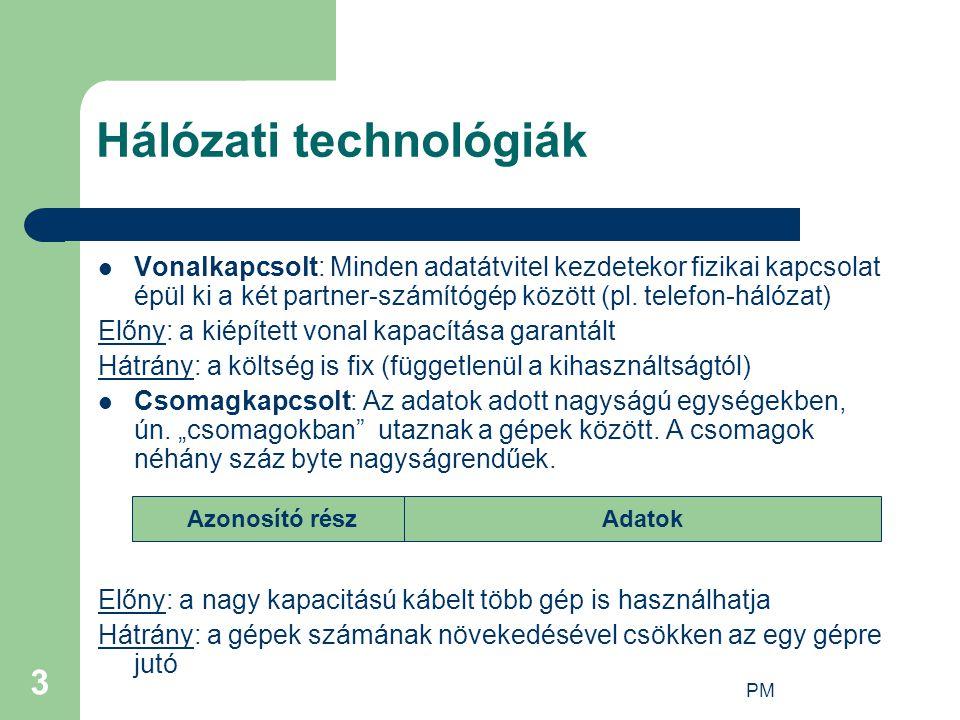 PM 3 Hálózati technológiák Vonalkapcsolt: Minden adatátvitel kezdetekor fizikai kapcsolat épül ki a két partner-számítógép között (pl. telefon-hálózat