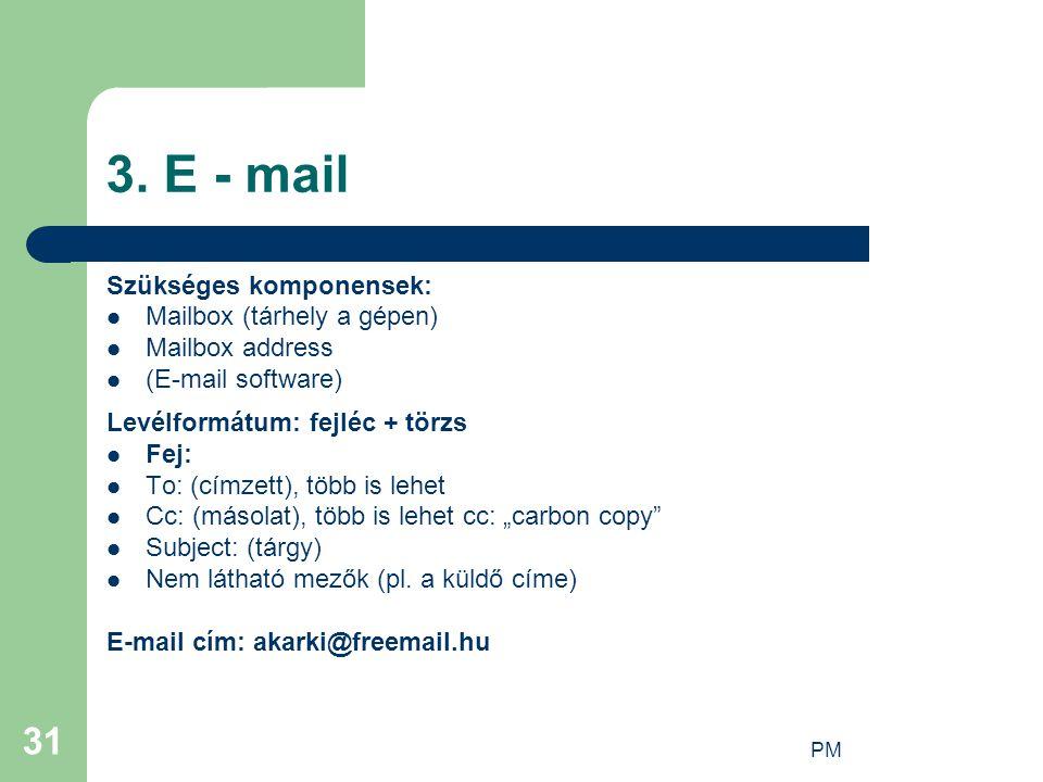 PM 31 3. E - mail Szükséges komponensek: Mailbox (tárhely a gépen) Mailbox address (E-mail software) Levélformátum: fejléc + törzs Fej: To: (címzett),