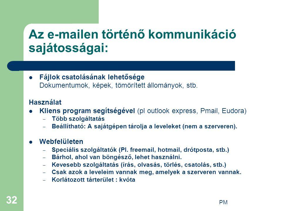 PM 32 Az e-mailen történő kommunikáció sajátosságai: Fájlok csatolásának lehetősége Dokumentumok, képek, tömörített állományok, stb. Használat Kliens